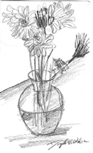 Sketch of flower vase