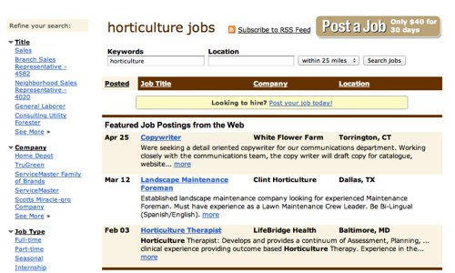 Horticulture jobs