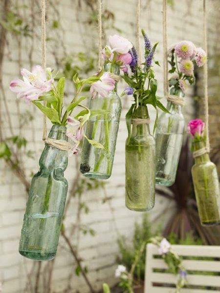 Hanging flower bottles vases