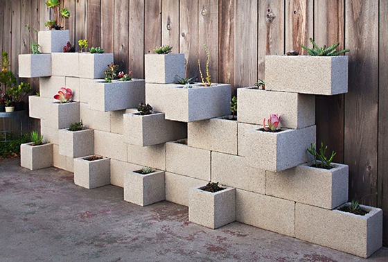 Concrete Block Planters And Raised Beds via Improvised Life