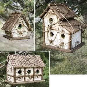 Garden Decor: Birchbark Bird Houses