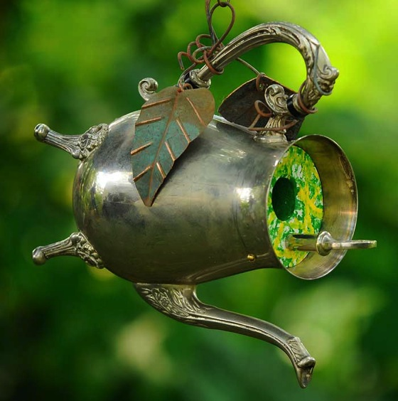 Garden Decor: Teapot Birdhouse from Clifford Earl Sculpture