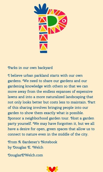 Parks in our own backyard… from A Gardener's Notebook