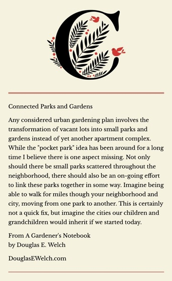 Connected Parks and Gardens... from A Gardener's Notebook