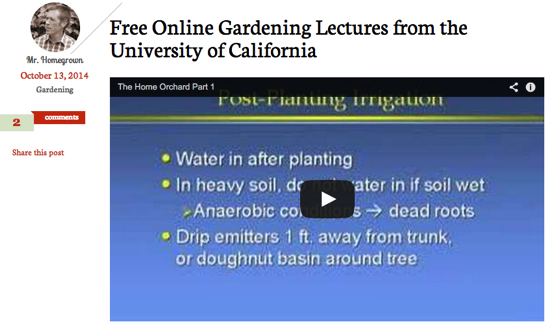 Free Online Gardening Lectures from the University of California via Root Simple