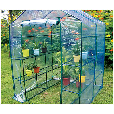 Garden addition walk in greenhouse from big lots 50 for Walk in greenhouse big lots