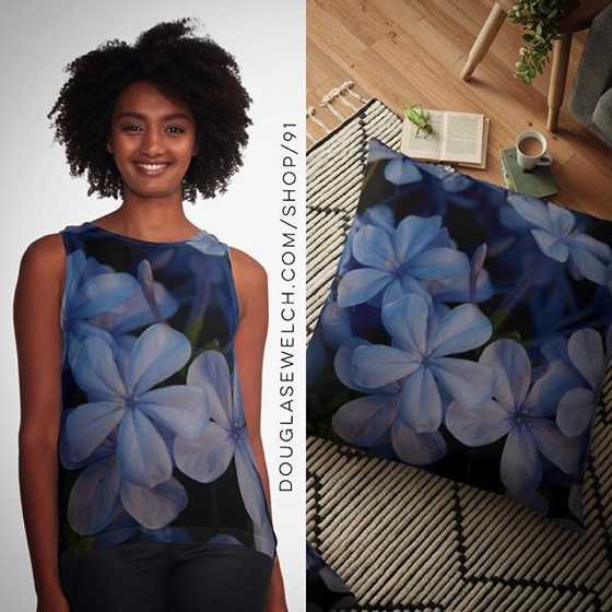 Buy these Pretty Plumbago Tops, Pillows, Cases, Totes and More!