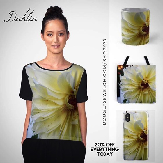 20% OFF All Everything Today! - Yellow Dahlia Tops, Cases, Totes and More!