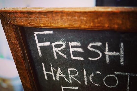 Fresh Haricots Sign -- Follow Me On Instagram!