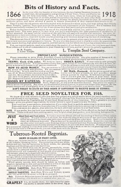 Historical Seed Catalogs: Catalog, L. Templin Seed Company (1918) - 9 in a series