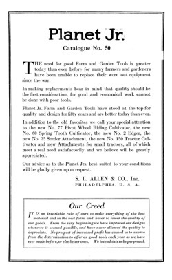 Historical Garden Books: Planet Jr. farm and garden tools by S.L. Allen & Co (1922) - 25 in a Series