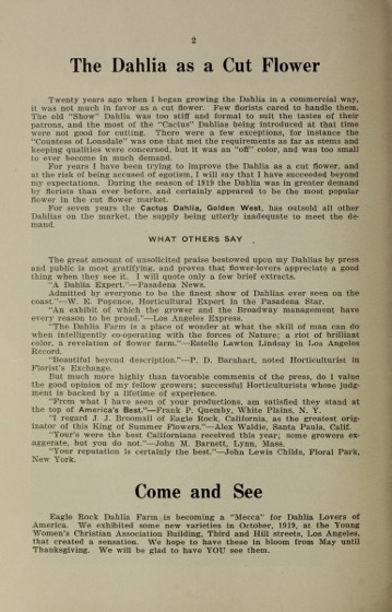 Historical Seed Catalogs: Dahlia guide. Nineteen-twenty / J.J. Broomall (1920) - 33 in a series