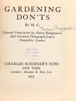 Historical Garden Books: Gardening don'ts by Marion Chappell (1913) - 52 in a series