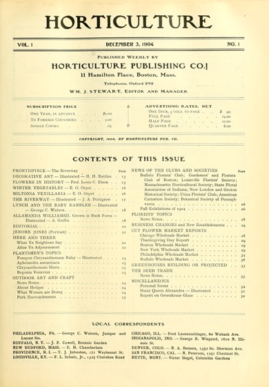Historical Garden Books: Horticulture: An Illustrated Magazine by Massachusetts Horticultural Society (1904-1905) - 50 in a series
