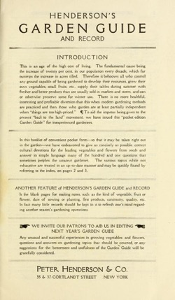 Historical Garden Books - 66 in a series - Henderson's garden guide by Peter Henderson & Co (1913)