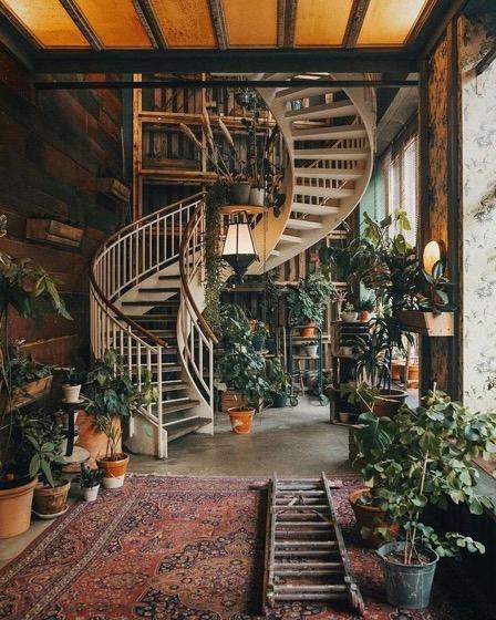 Amazing Spiral Stairway With Indoor Garden Decoration via Pinterest