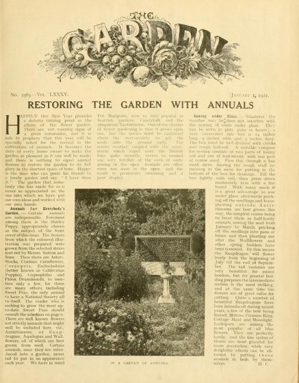 Historical Garden Books - 92 in a series - The Garden: An Illustrated Weekly Journal Of Gardening In All Its Branches (1921)