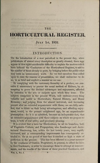 Historical Garden Books - 91 in a series - The Horticultural register, and general magazine (1831)