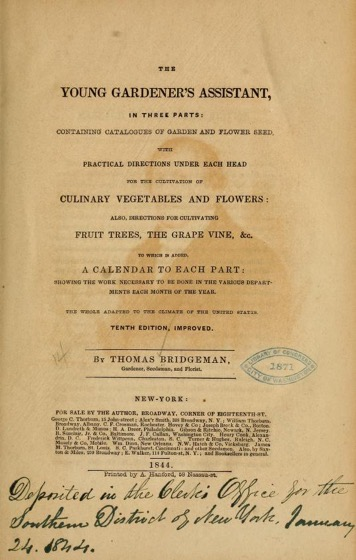 Historical Garden Books - 100 in a series - The young gardener's assistant, in three parts (1844)