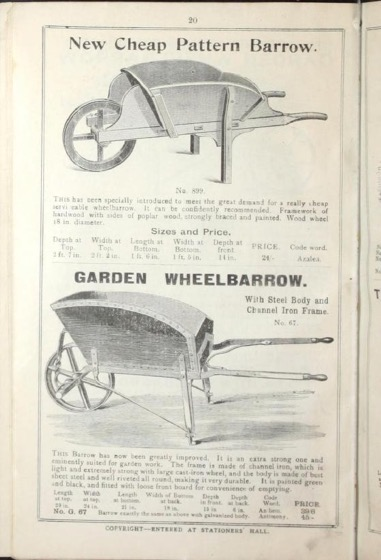Wheelbarrow page of catalog