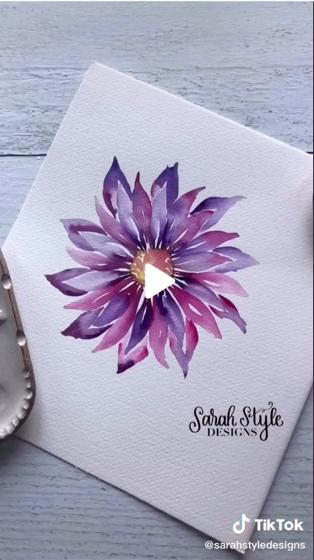 Dazzling Dahlias - 56 in a series -  Dahlia painting 🌸 by sarahstyledesigns via TikTok [Video]