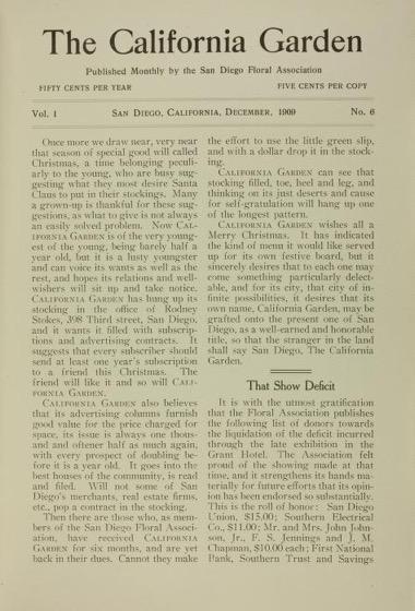 Historical Garden Books - 119 in a series - California Garden, Vol.1, No. 6, December 1909 by San Diego Floral Association Page 1
