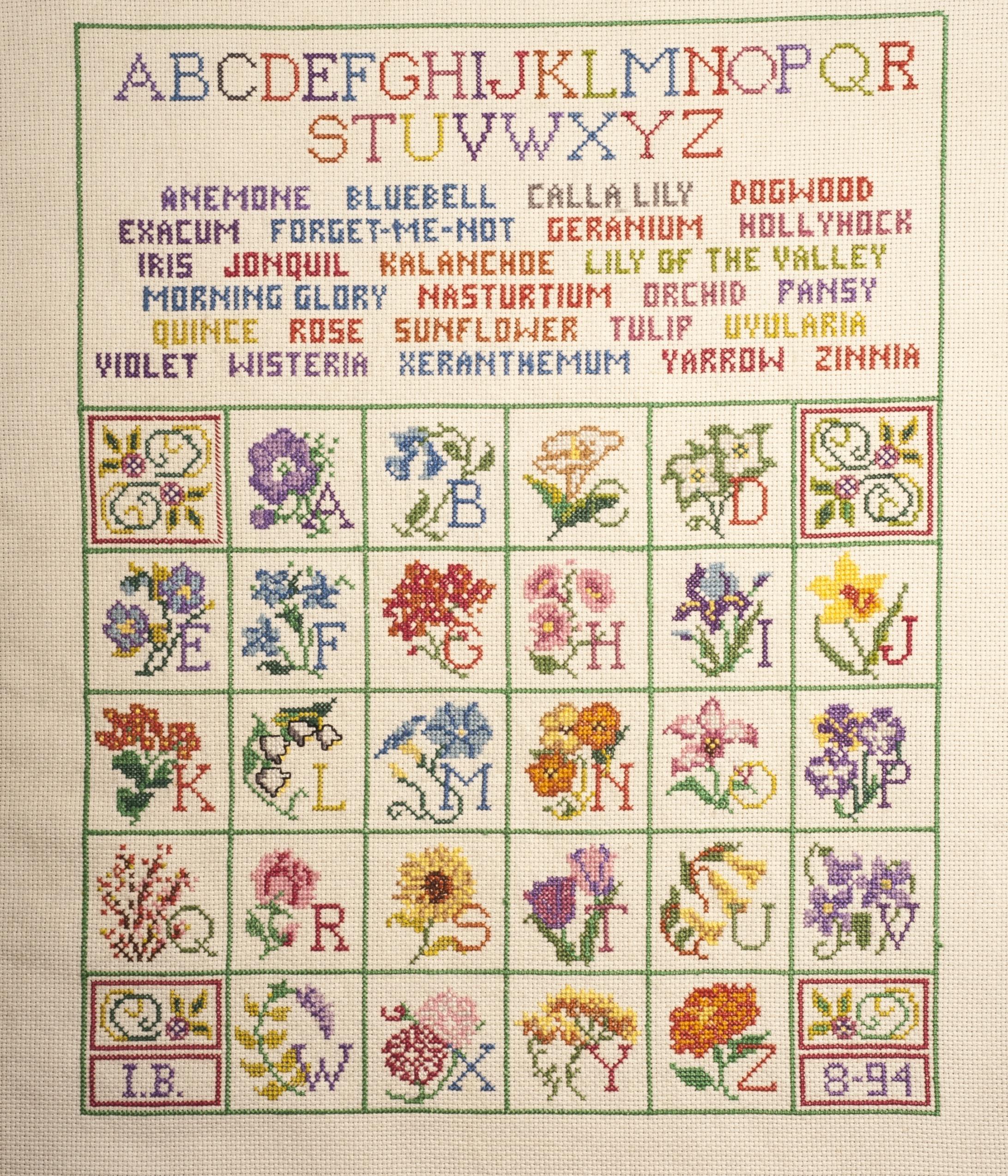 Vintage Botanical Prints - 62 iin a series - Botanical Alphabet Cross-Stitch from the Anacostia Community Museum