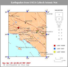 Southern California Quake Map