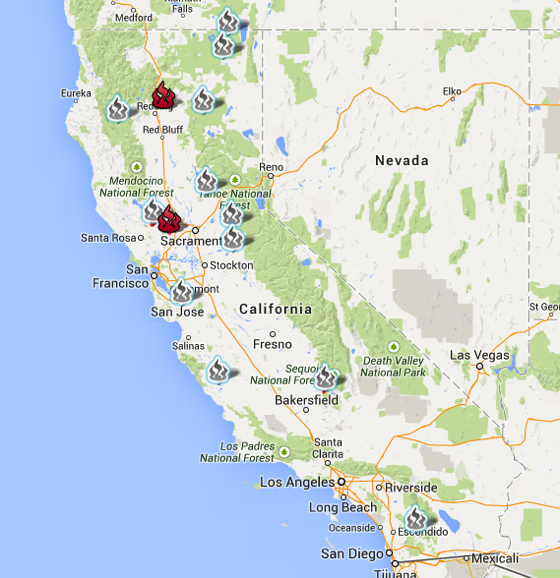 Cal Fire Incident Google Map with perimeters