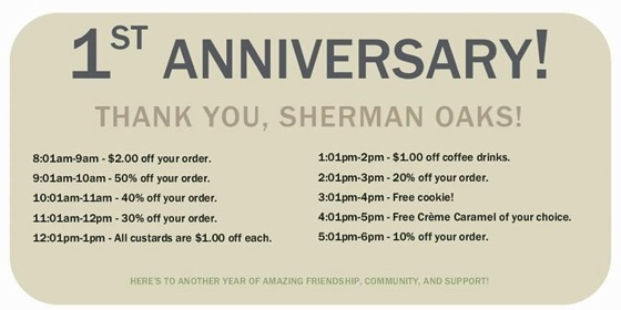 Food: Creme Caramel LA celebrates their 1st Birthday - Tuesday, September 9, 2014 - Special Deals