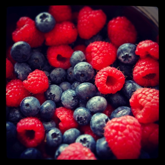 Photo: Blueberries and Raspberries
