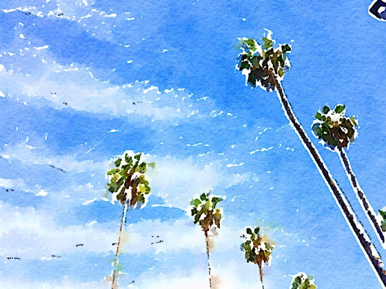 Palm trees watercolor 3