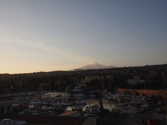 Harbor with Etna in the background Lungomare Catania  1