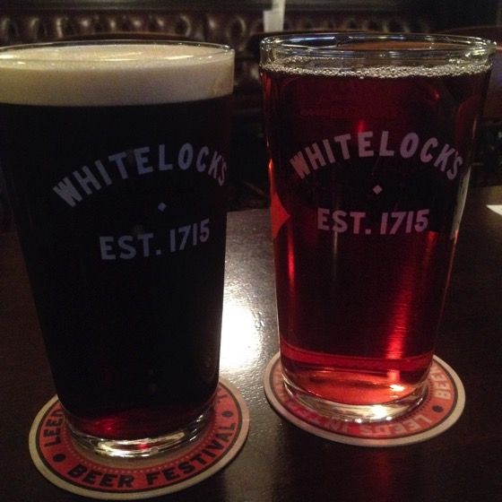 Beer and Cider with dinner at Whitelock's, Leeds, UK #travel #beer #cider #food #leeds #uk #drink