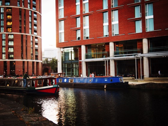 Canal boats on the Liverpool and Leeds Canal in Leeds Center