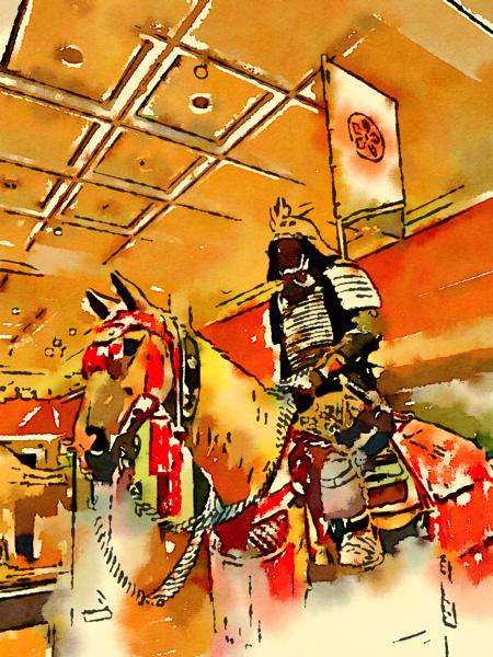 Samurai Armor in watercolor, Royal Armouries Museum, Leeds, UK [Photo]