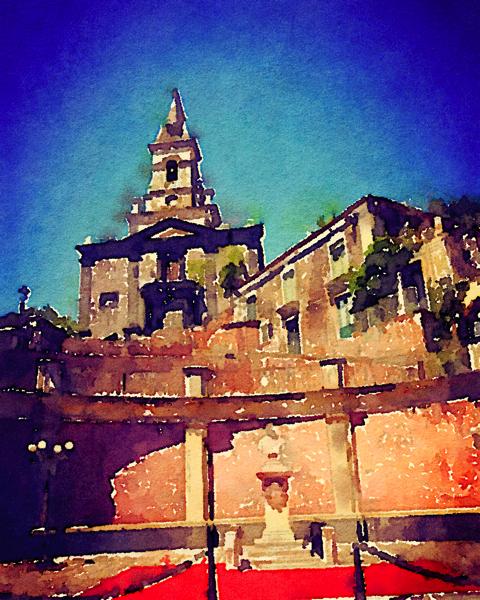 Chiesa Madre (San Nicolo), Trescastagni, Sicily (Watercolor)
