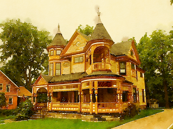 Historic Victorian Home, Bedford, Ohio (Watercolor)
