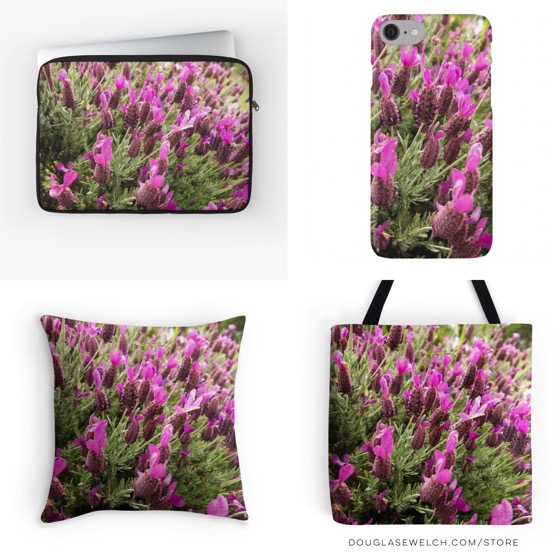 Lavender flower laptop sleeves, iphone cases, totes, pillows and much more!