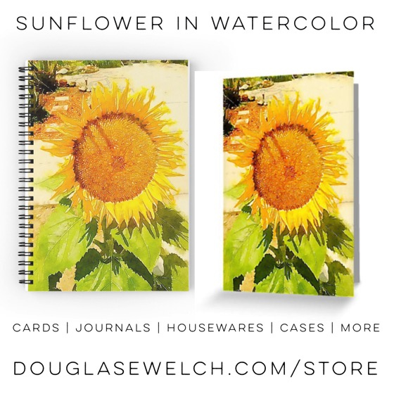 Sunflower in Watercolor Cards, Notebooks and More!