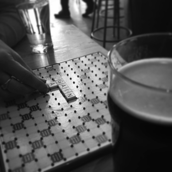 Words and a Pint #words #scrabble #game #boardgame #beer #brewery #macleodale #bnw #bw #blackandwhitephotography #blackandwhitephotographyoftheday #blackandwhite