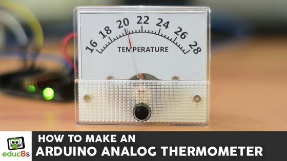On YouTube: Arduino Tutorial: How to make an analog Thermometer with Arduino a DS18B20 and an analog Voltmeter