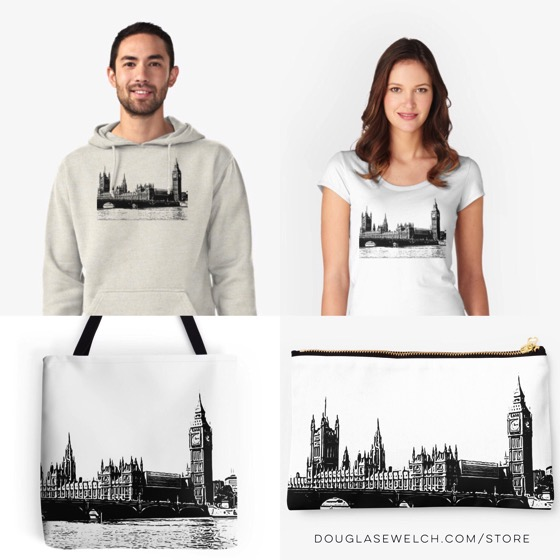 """""""Houses of Parliament"""" hoodies, t-shirts, bags and more!"""