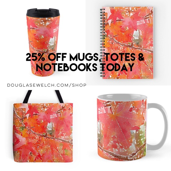 25% OFF On Mugs, Totes and Notebooks Today Including these Liquidambar Leaves in Autumn and Much More!