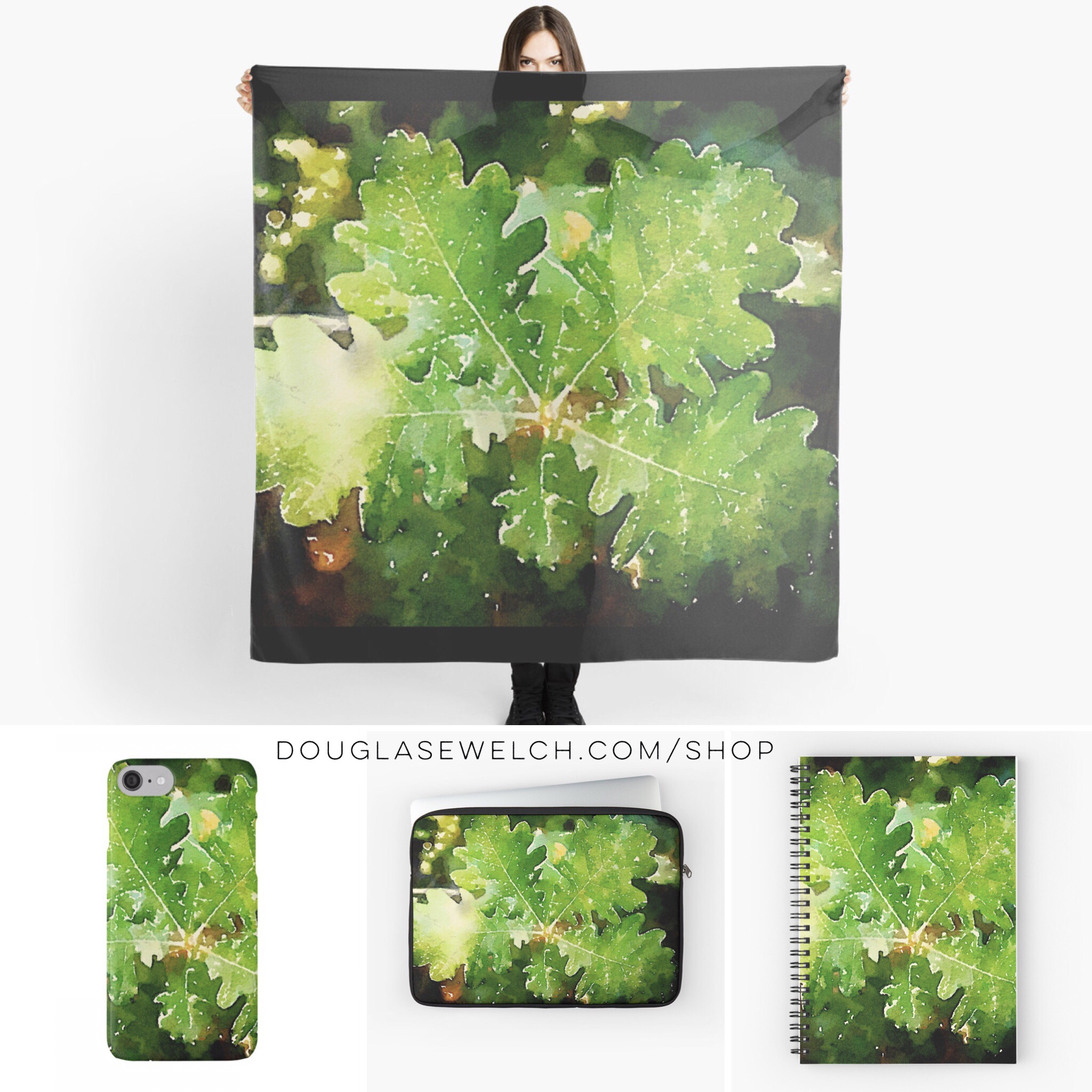 Dress up your day with these Oak Leaves Watercolor Scarves, iPhone Cases, Laptop Sleeves, Notebooks and More!