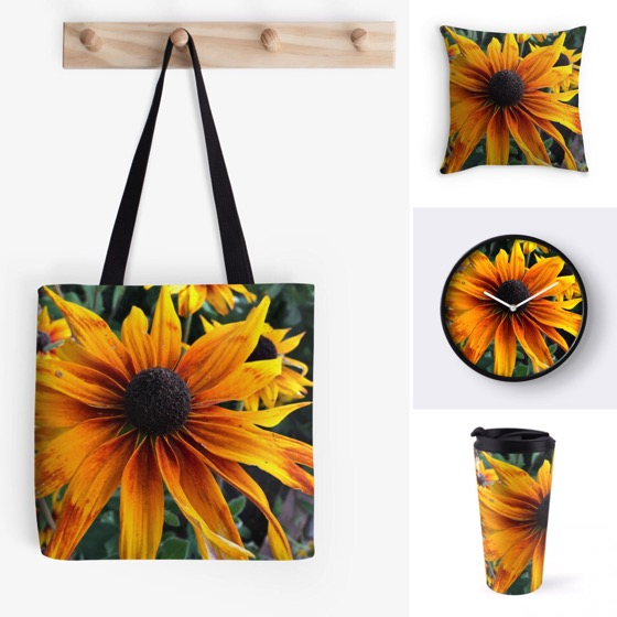 Brighten up your home with these Rudbeckia Totes, Clocks, Pillows and More!