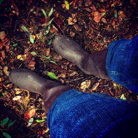 Wearing my wellies in the garden