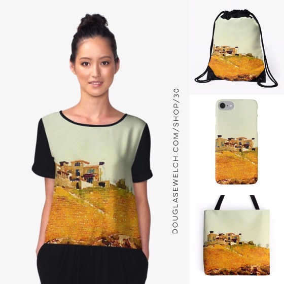 "Dream of your own personal ""Villa in the Vineyard"" with these tops, totes and cases"