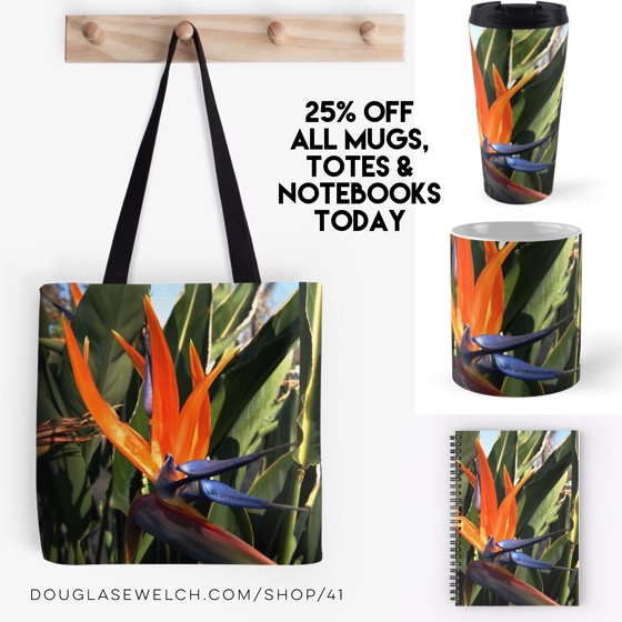 25% OFF Today - Almost Alien Looking Strelitzia Decorate These Totes, Mugs, Notebooks and Much More!