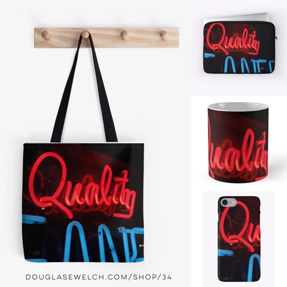 "Shine brightly with these ""Quality In Neon"" Totes, Mugs and Cases"